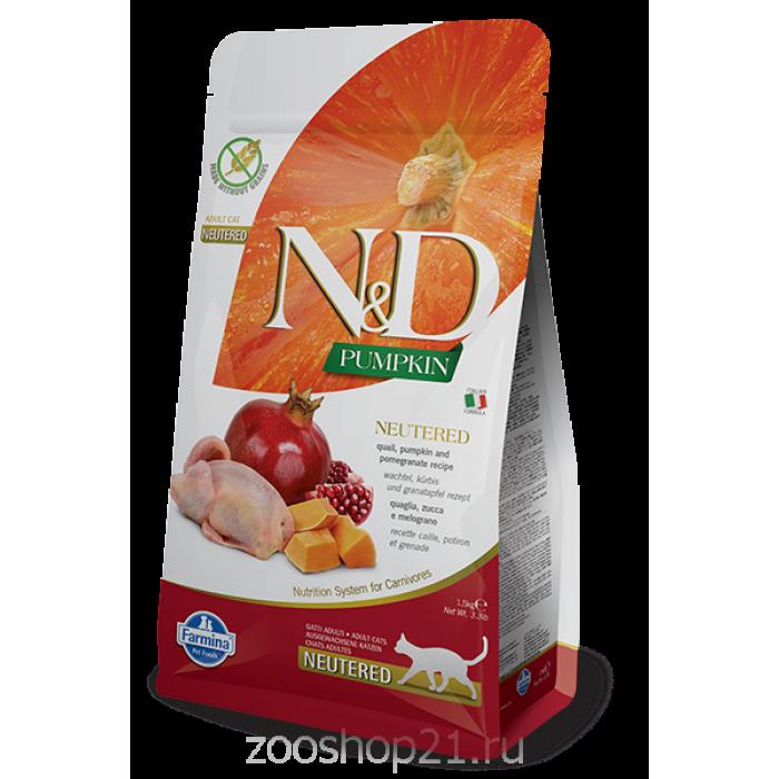 Корм Farmina N&D Pumpkin Neutered Quail беззерновой для стерилизованных кошек перепел и тыква, 1.5 кг